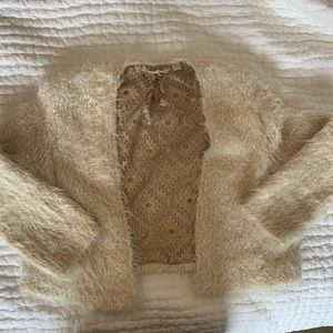 Anthropologie fuzzy crop sweater